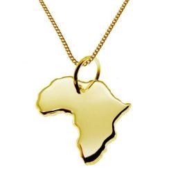 AFRIKA Kettenanhänger aus massiv 585 Gelbgold mit Halskette