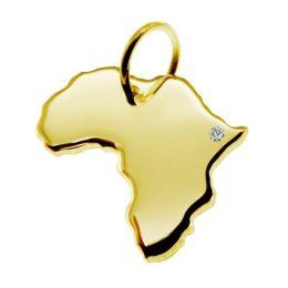 AFRIKA Kettenanhänger mit Brillant am Wunschort aus 585 Gelbgold