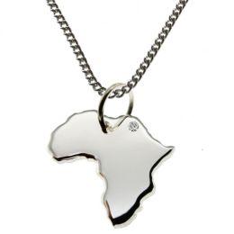 AFRIKA Kettenanhänger mit Brillant am Wunschort und Halskette, Silber