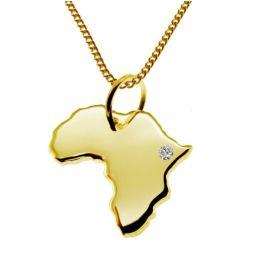 AFRIKA Kettenanhänger mit Brillant aus 585 Gelbgold mit Halskette