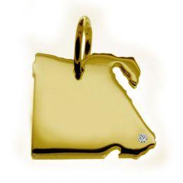 ÄGYPTEN Kettenanhänger mit Brillant am Wunschort 585 Gelbgold
