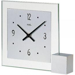 AMS 102 Tischuhr Quarz analog silbern eckig mit Glas und Aluminium
