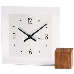 AMS 104 Tischuhr Quarz Holz Eiche analog mit Glas modern