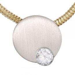 Anhänger 950 Platin mattiert 1 Diamant Brillant 0,16ct.