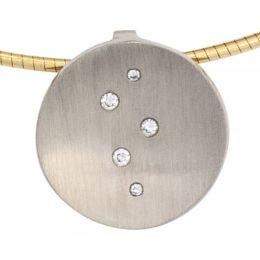 Anhänger 950 Platin mattiert 5 Diamanten Brillanten 0,05ct.
