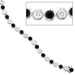 Armband 925 Silber 19 cm mit Zirkonia schwarz weiß Kastenschloss
