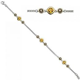 Armband 925 Silber bicolor vergoldet 6 Rauchquarze 3 Citrine 20 cm