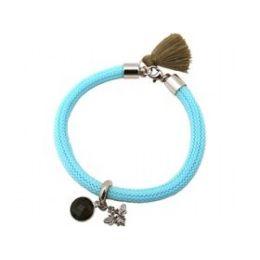 Armband 925 Silber Edelstein Rauchquarz BEE Biene Blau Braun