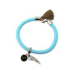Armband 925 Silber Edelstein Rauchquarz Engel Flügel Blau Braun