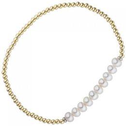 Armband 925 Silber gold vergoldet 10 Süßwasser Perlen flexibel