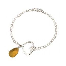 Armband 925 Silber Lotus Blume Citrin Quarz Tropfen Gold Goldgelb YOGA