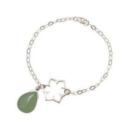 Armband 925 Silber Lotus Blume Mandala Chalcedon Tropfen Grün YOGA