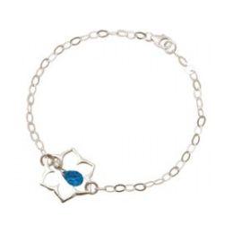 Armband 925 Silber Lotus Blume Mandala Topas Quarz Tropfen Blau YOGA
