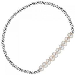 Armband 925 Sterling Silber 10 Süßwasser Perlen flexibel elastisch