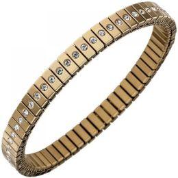 Armband Edelstahl Goldfarben beschichtet mit Zirkonia rundum 19 cm