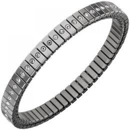 Armband Edelstahl mit Zirkonia rundum 19 cm endlos und flexibel