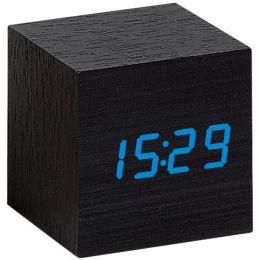 Atlanta 1134/7 Wecker Würfel digital Holz Optik schwarz Datum