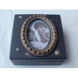 Aufbewahrungsbox Shabby Chic aus Holz und Glas, 15 cm
