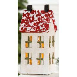Beleuchtetes Holzhaus mit LED Lämpchen aus Keramik, 13,5 x 7 cm
