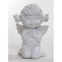 Betender Engel Lucy, kniend, weiß, 12 cm