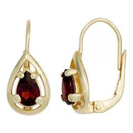 Boutons 333 Gold Gelbgold 2 Granate Ohrringe Ohrhänger