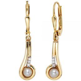 Boutons 333 Gold Gelbgold 2 Süßwasser Perlen 6 Zirkonia Ohrhänger