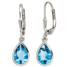 Boutons 925 Sterling Silber rhodiniert 2 Zirkonia blau Ohrhänger