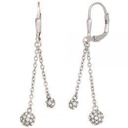 Boutons 925 Sterling Silber rhodiniert mit Zirkonia Ohrringe Ohrhänger