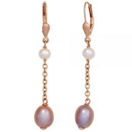 Boutons 925 Sterling Silber rotvergoldet 4 Süßwasser Perlen Ohrringe
