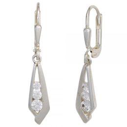 Boutons 925 Sterling Silber teilmattiert 6 Zirkonia Ohrringe Ohrhänger