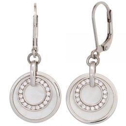 Boutons 925 Sterling Silber Zirkonia 2 Perlmutt-Einlagen Ohrringe