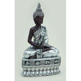 Buddha sitzend auf einem Sockel in Antik, 30 cm