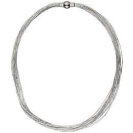 Collier Halskette 20-reihig aus Edelstahl 44 cm kette