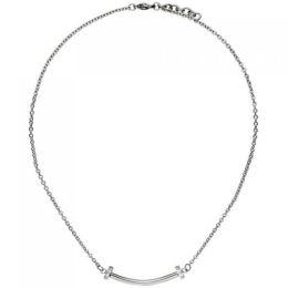 Collier Halskette aus Edelstahl mit 6 Zirkonia 45 cm