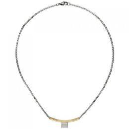 Collier Halskette Edelstahl teil Goldfarben beschichtet Zirkonia 42 cm