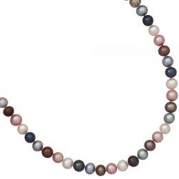 Collier Süßwasserperlen Perlen 45 cm Karabiner aus 925 Silber