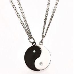 Collier Ying Yang 4-teilig Edelstahl 2 Zirkonia schwarze Beschichtung