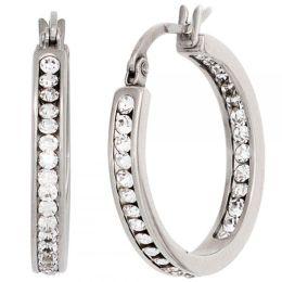 Creolen Edelstahl mit 42 Kristallen Ohrringe