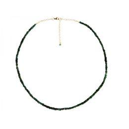 Damen Halskette 42 cm Vergoldet Smaragd Facettiert Grün