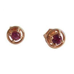 Damen Ohrringe 18 Karat (750) Rosegold mit Turmalin Rosa 7mm