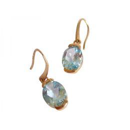 Damen Ohrringe 9 Karat (375) Gold Topas Blau Oval Facettiert 12 mm