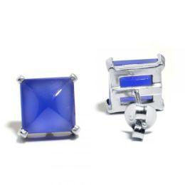 Damen Ohrringe 925 Silber Chalcedon Blau 10mm
