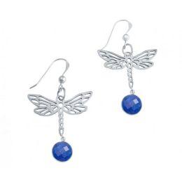 Damen Ohrringe 925 Silber LIBELLE Onyx Blau 4 cm