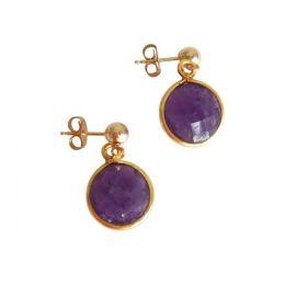 Damen Ohrringe 925 Silber Vergoldet Amethyst Violett CANDY 2 cm