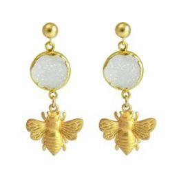 Damen Ohrringe 925 Silber Vergoldet BEE Biene DRUZY Weiß Quarz 4 cm
