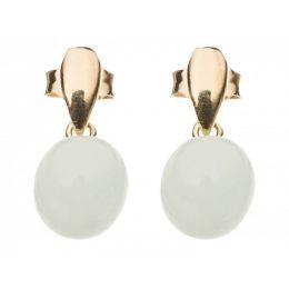 Damen Ohrringe 925 Silber Vergoldet Chalcedon MeeresGrün 2 cm