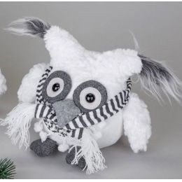 Deko-Figur Wintereule Moonkin mit Schal, sitzend, weiß 18 cm