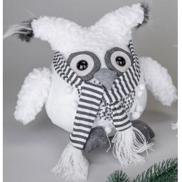 Deko-Figur Wintereule Moonkin mit Schal, sitzend, weiß 25 cm