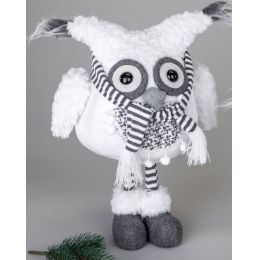 Deko-Figur Wintereule Moonkin mit Schal, stehend, weiß 36 cm