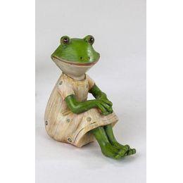 Deko Frosch Frau sitzend im cremefarbenen Kleid, 9 x 4 cm